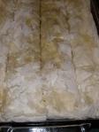 Assembled baklava sliced into 4 strips vertically; I should've slice it into 5 strips